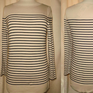 Striped Black & Taupe Long Sleeve Knit Top
